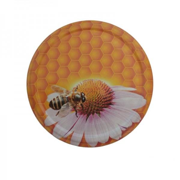 Καπάκι καρό με μέλισσα και λουλούδι για βάζο 720ml